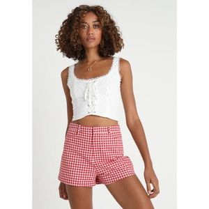 Tops - White Eyelet Lace Up Crop Tank